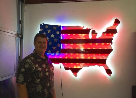 american flag led sculpture