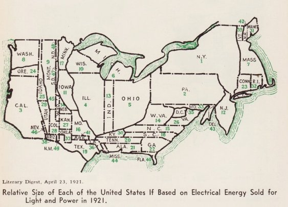 Relative Size of US States Based On Electricity Consumption In 1921