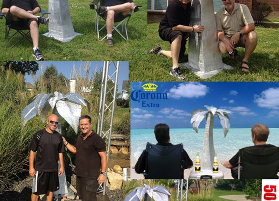 palm tree sculpture� in brushed aluminum, outdoor palm tree and aluminum Palm trees