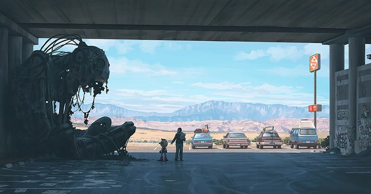 Girl And Her Robot Travel Through Wastelands In Alternate 90s USA In Chilling Illustrations | Bored Panda