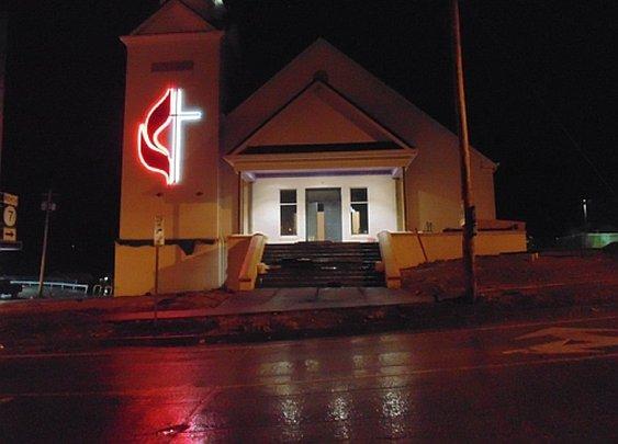 UMC church Cross in LED lighting