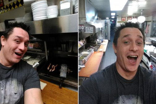 Man fires up grill at Waffle House as worker sleeps
