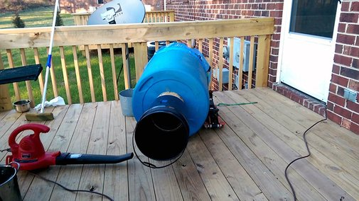A Man Builds an Incredibly Loud, Leaf Blower Powered Train Horn Out of a 55 Gallon Drum