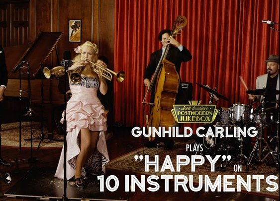 Happy Cover (on 10 Different Musical Instruments Cover) (ft. Gunhild Carling) - YouTube