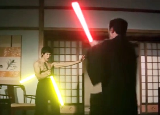 Bruce Lee Battles His Enemy With Lightsaber Nunchucks in a Recreated Scene From 'Fist of Fury'