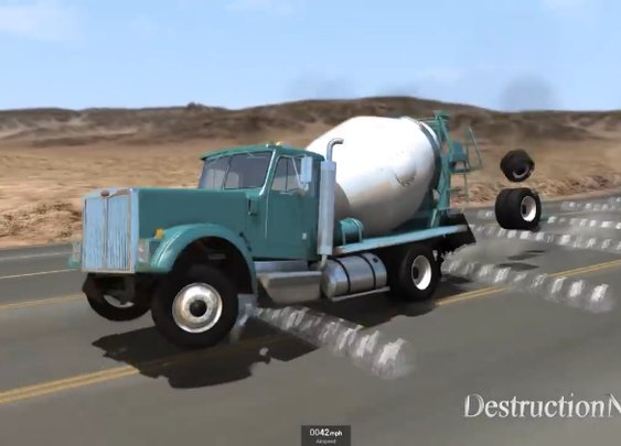 Virtual Vehicles Are Destroyed As They Drive Over 100 Consecutive Speed Bumps at High Speeds