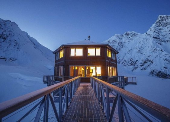 Hexagonal chalet built on North America's highest mountain