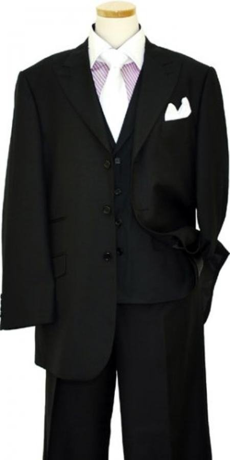 Black 3 Buttons Style Peak Lapel Wool Vested 3 Piece Suit With Wide Leg Pants