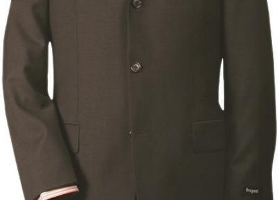 Super Quality Wool Suit With Three Buttons In Chocolate Brown Color