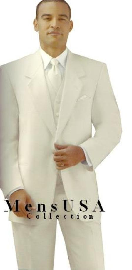 Ivory/Off-White Color 2 Button Style Single Breasted Tuxedo Jacket With Notch Lapel