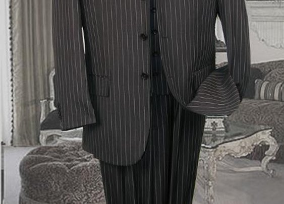 Fashionable Three Piece Pinstripe Suit With 3 Buttons In Charcoal Color