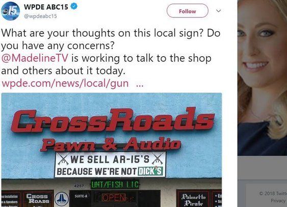 'Because we're not DICK'S': SC gun shop's AR-15 sign