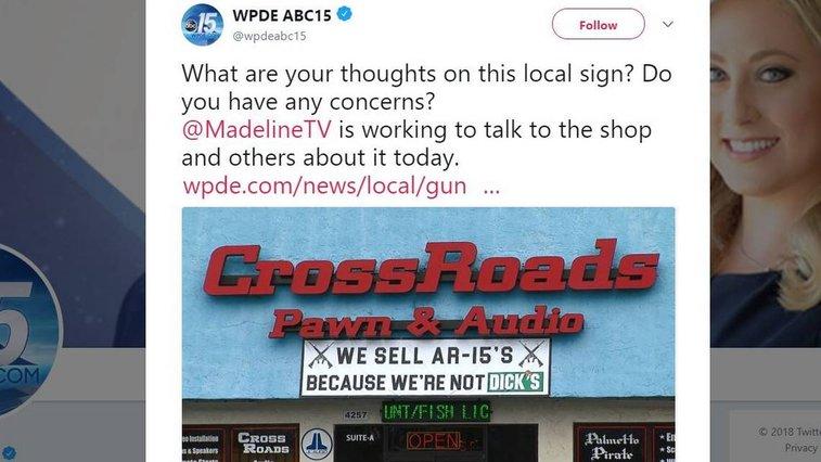 'Because we're not DICK'S': SC gun shop's AR-15 sign
