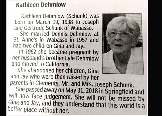 Woman's obituary takes a dark turn: Take care of your kids :)