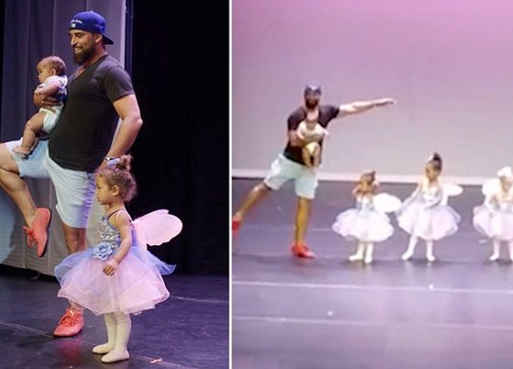 Father does ballet on stage with daughter after she gets stage fright | Daily Mail Online