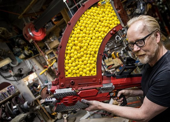 Adam Savage Upgrades a Nerf Rival Nemesis Blaster to Fire 1,000 Soft Plastic Balls