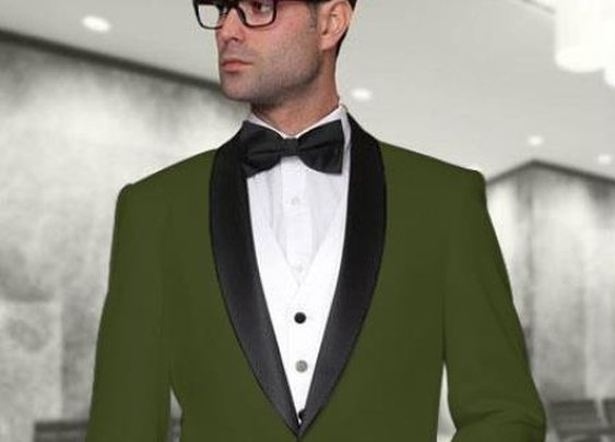 Modern Fit 3 Piece Vested Tuxedo With Shawl Collar In Olive Green Color For Men
