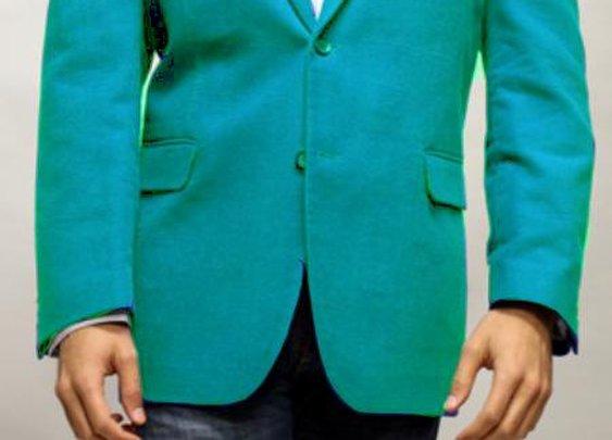 Stylish Stage Party Velvet Fabric Sport Coat In Light Blue Color For Men