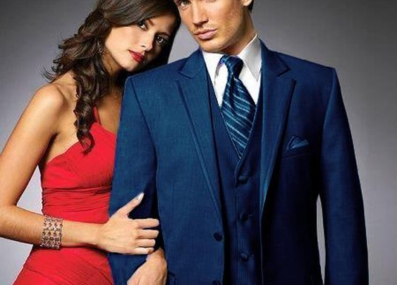Get Two Button Party Wear Tuxedo In Midnight Blue Color