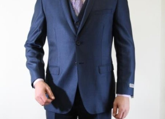 Get Three Piece Vested Suit With pinstripe Pattern and Two Buttons In Cobalt Blue Color