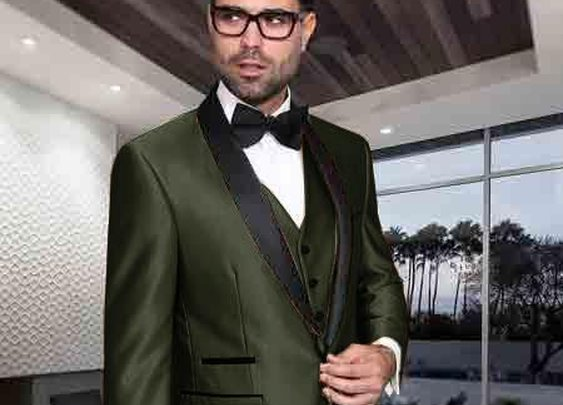 Shiny Modern Fit  Vested Suit With One Button In Dark Olive Green For Men