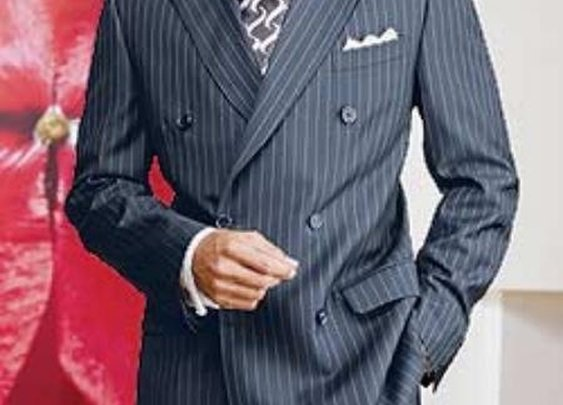 Rayon Fabric Double Breasted Pinstripe Suit In Navy Blue Color For Men