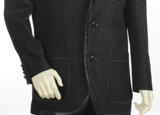 Fashionable Denim Cotton Fabric Two Tone Blazer With 3 Buttons In Black Color For Men