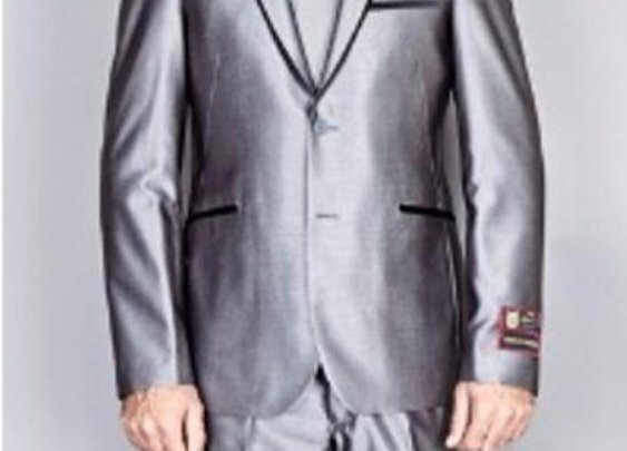Men's Shiny Gray 2 Button Euro Slim Fit Suit With Matching Tie And Shirts