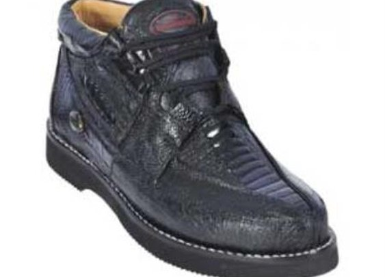 Black Genuine All Over Ostrich Leg Casual Shoes For Men