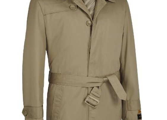 Single Breasted Belted Trench Coats For Men In Khaki Color