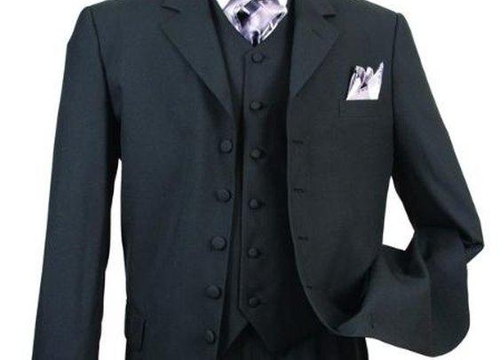 Classic Long Solid Black Fashion Zoot Suit For Men