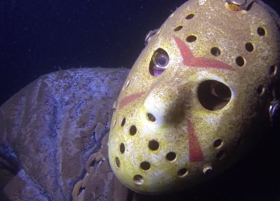 Jason Voorhees Statue in Minnesota Lake - YouTube