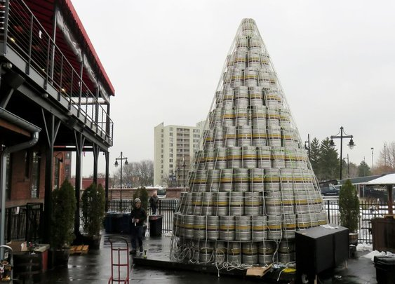 Genesee Brewery Christmas Tree Made of Kegs