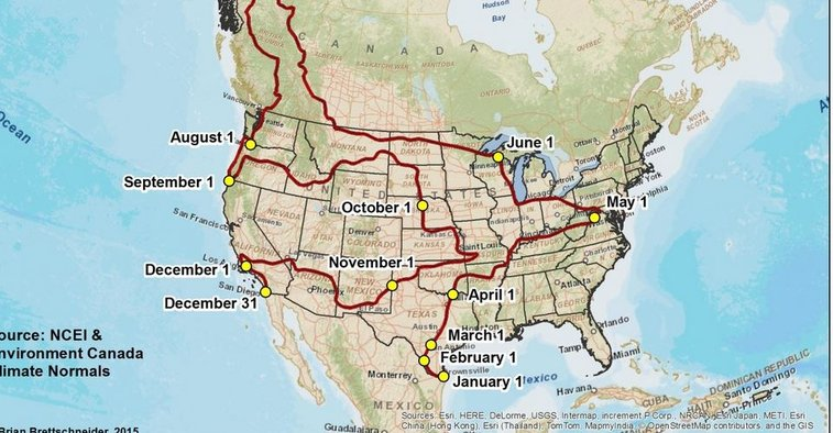 A Year-Long U.S. Road Trip for People Who Want 70-Degree Weather Every Day
