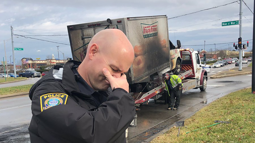 Police officers 'mourn' loss of burned doughnut truck