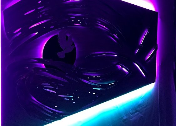cosmictide sculpture in aluminum and led lighting