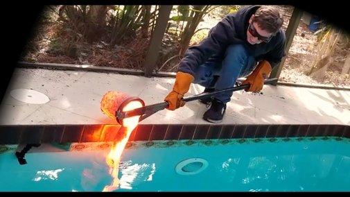 Pouring Lava Into a Swimming Pool