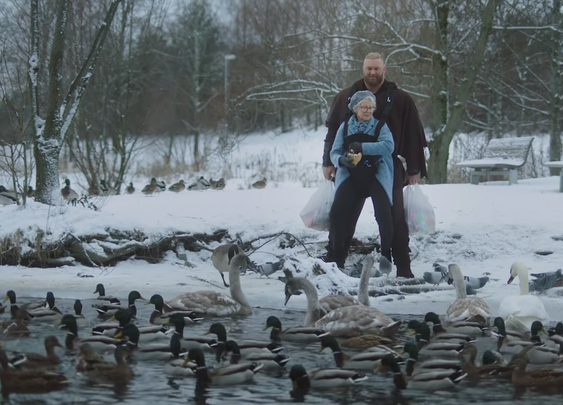 The Immensely Strong Hafthór Björnsson Carries Strangers Around in a Front Facing Baby Carrier