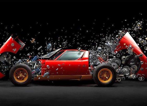 A Fantastic High-Speed Image of a Restored 1972 Lamborghini Miura Disintegrating Piece by Piece