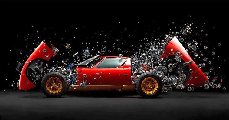 A Fantastic High-Speed Image of a Restored 1972 Lamborghini Miura Disintegrating Piece by Piece