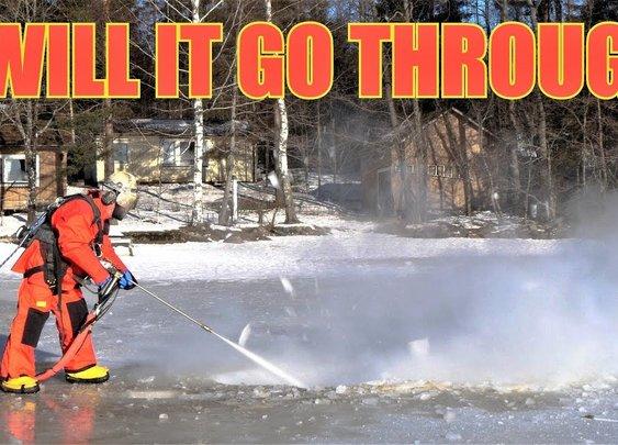 Frozen Lake Vs. 44,000 PSI Pressure Washer!