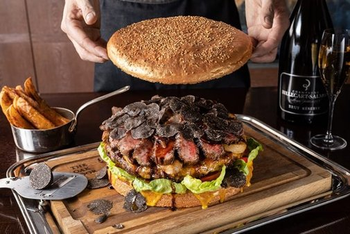 $900 Burger with Gold-Dusted Bun and Shaved Truffles