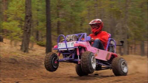 Real Life Mario Kart: Guy Puts a Dirt Bike Engine in a Barbie Truck