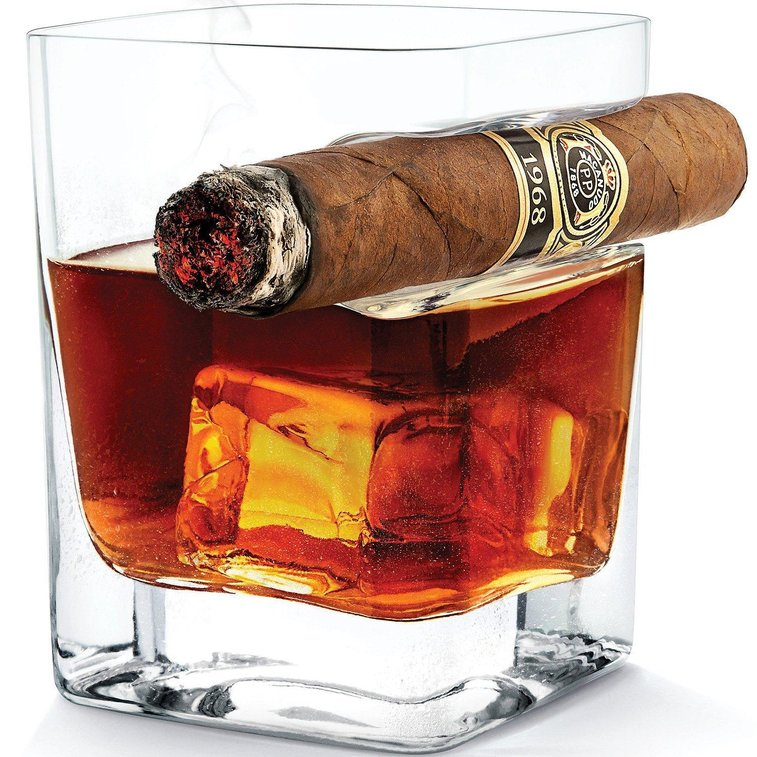 Whiskey Glass Tumbler with Cigar Holder