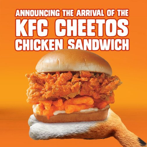 "Chester Cheetah on Twitter: ""With love from the proud parents, @KFC and #Cheetos. Available nationwide July 1st. #KFCCheetosSandwich… """