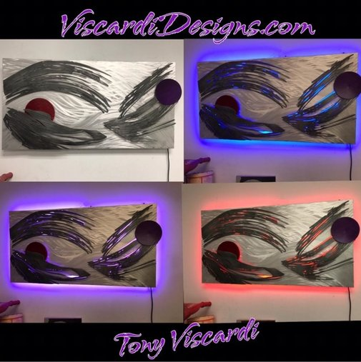 $975 by artist Tony Viscardi Color changing LED sculpture in abstract contemporary sculpture style