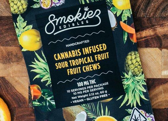 Sour Tropical Fruit Gummies by Smokiez | PotValet