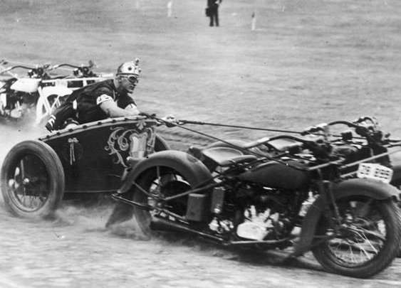 Motorcycle Chariot Racing was a real sport in the 1920s