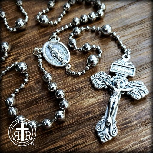WWI Battle Beads® Combat Rosary from Rugged Rosaries in Silver