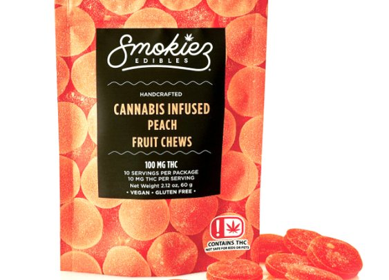 Smokiez Peach Gummy Cannabis Edible - Hybrid | 100mg THC | Pot Valet